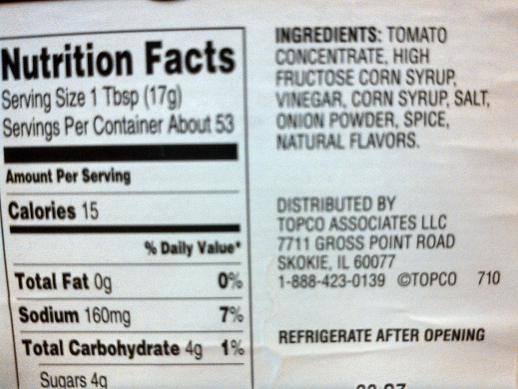 Typical store-bought ketchup ingredients