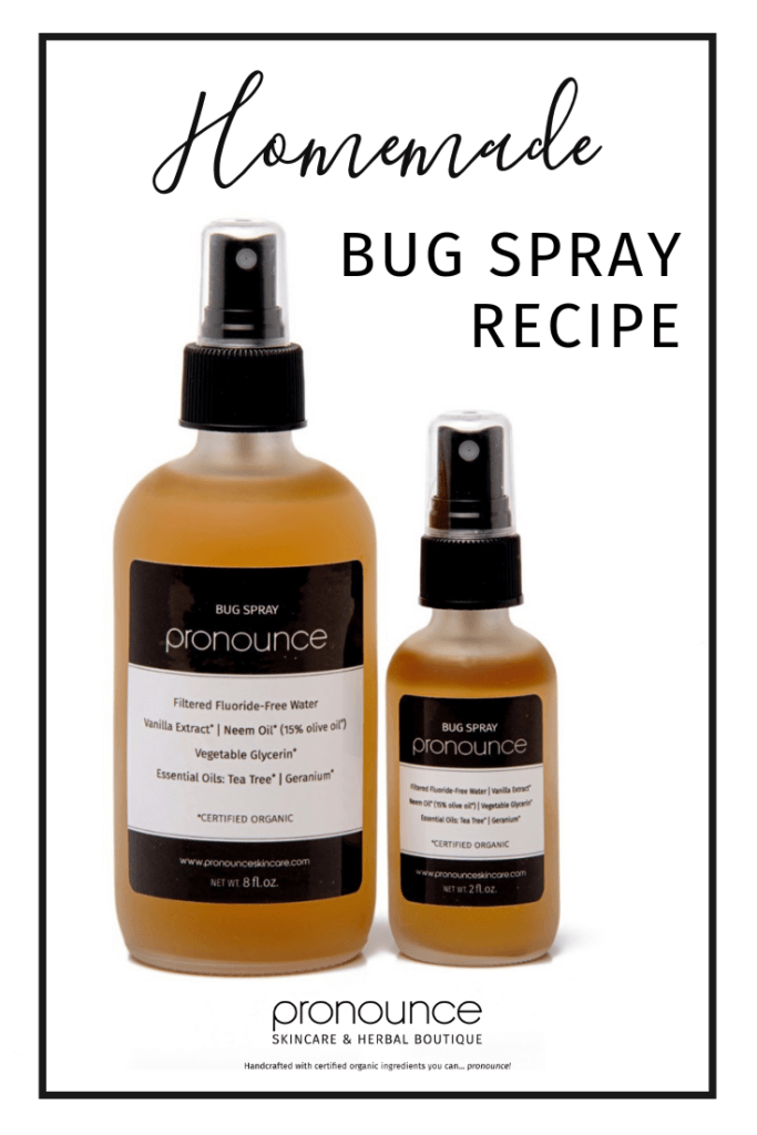 Learn how to make your own healthy, non-toxic DIY bug spray recipe. Follow Pronounce Skincare's DIY bug spray recipe and stay bug free while avoiding those awful chemicals found in conventional bug spray.
