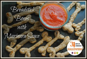 Breadstick Bones With Marinara Sauce (*real* food bones)