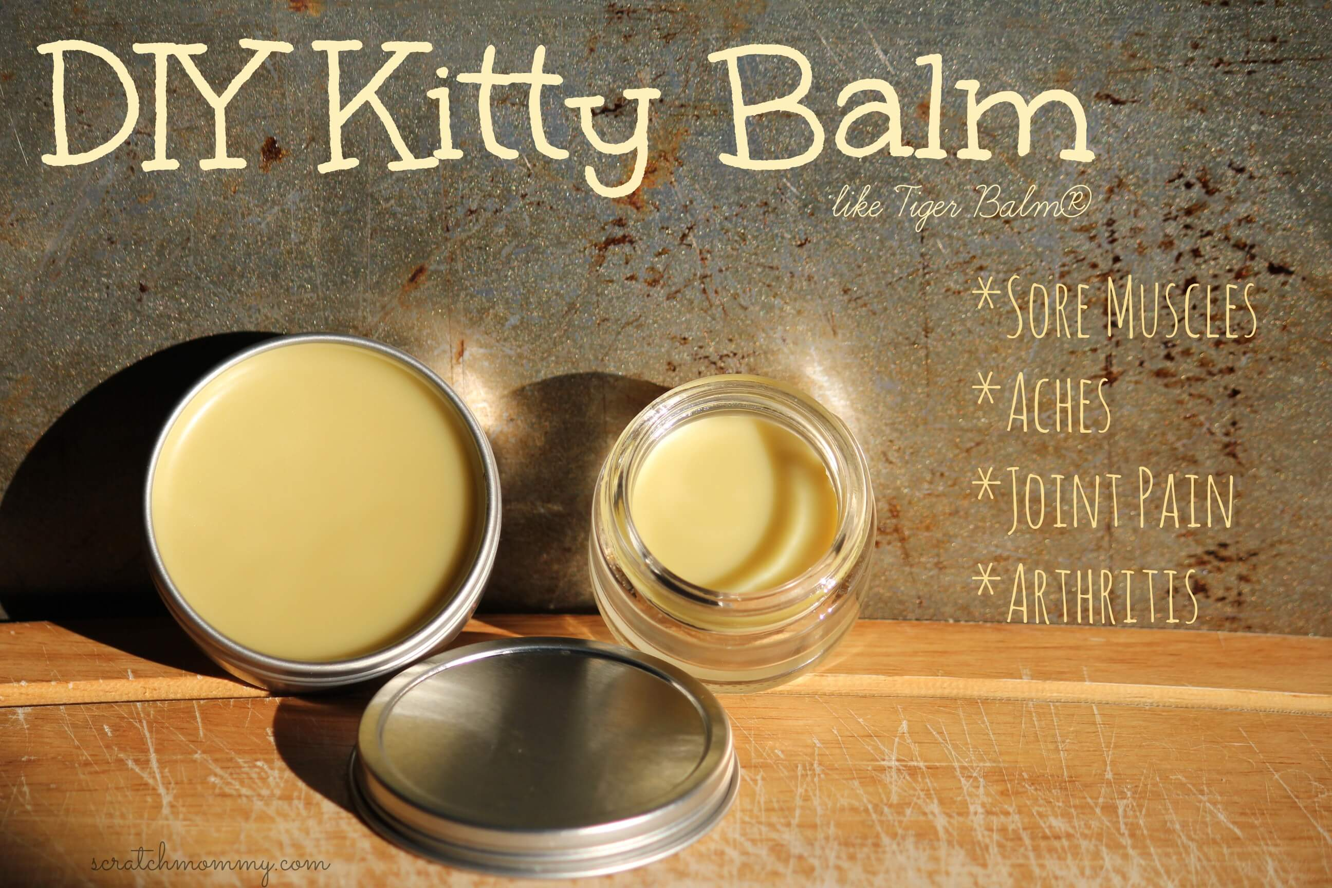 DIY Kitty Balm Recipe - Like Tiger Balm, but better! Non-toxic and effective solution for sore and aching muscles.