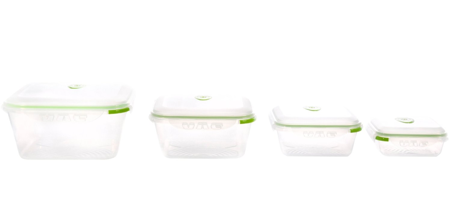 Ozeri INSTAVAC Green Earth Food Storage Container Set, BPA-Free 8-Piece Nesting Set with Vacuum Seal and Locking Lids. Glass is best, but these are good!