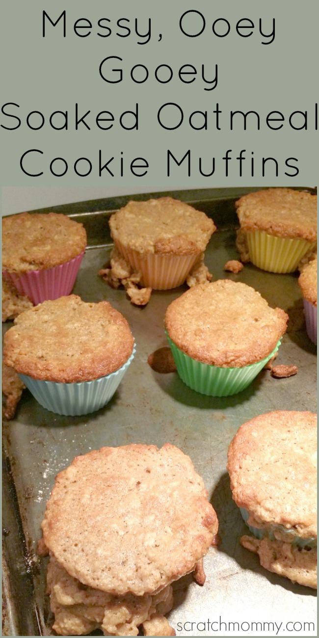 Messy Ooey Gooey Soaked Oatmeal Cookie Muffins