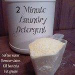 Want to make laundry detergent from scratch? This recipe uses natural ingredients, does not require heating and can be made in 2 minutes!