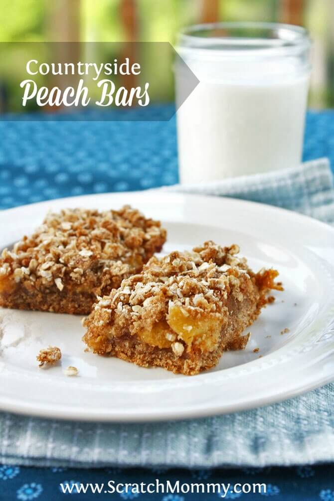 These peach bars will warm you up on a cool day, but the flavor of fresh peaches will have you dreaming about enjoying your snack on the porch in the sun.