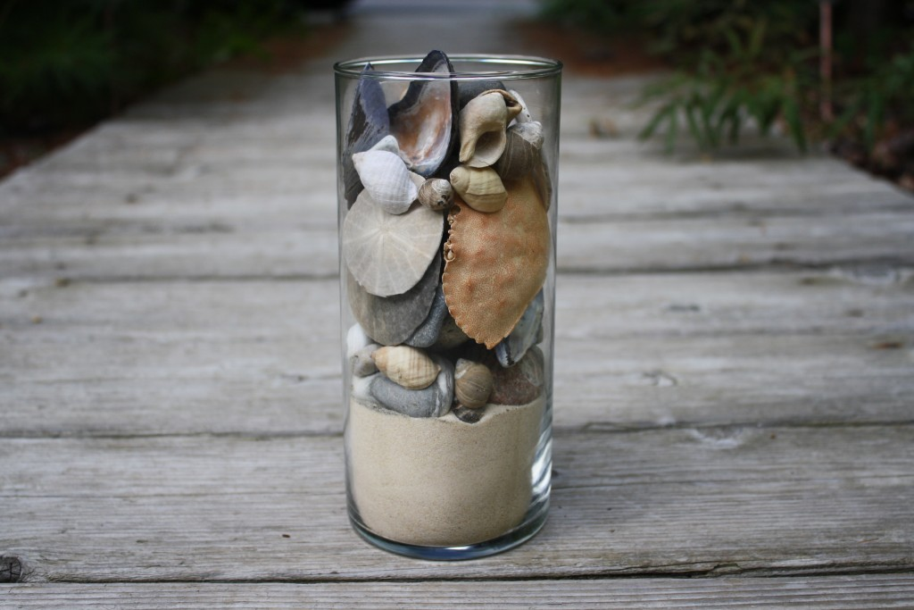 DIY Remembering Summer Memory Jar made using seashells, stones and sand