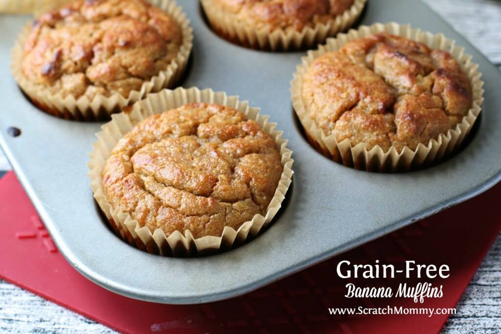 These grain free banana muffins are so easy to make, freeze well, and are filled with nutrient-dense ingredients that will fill you up.