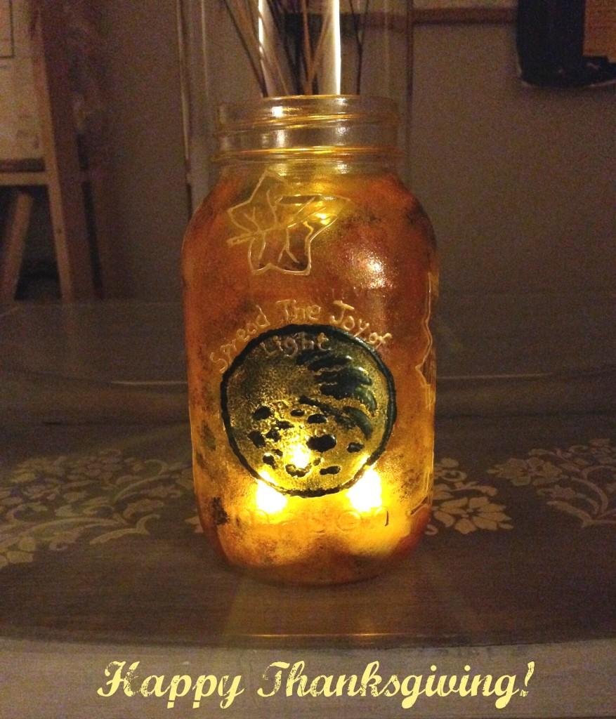 Hand Painted Mason Jar Lantern - Steps