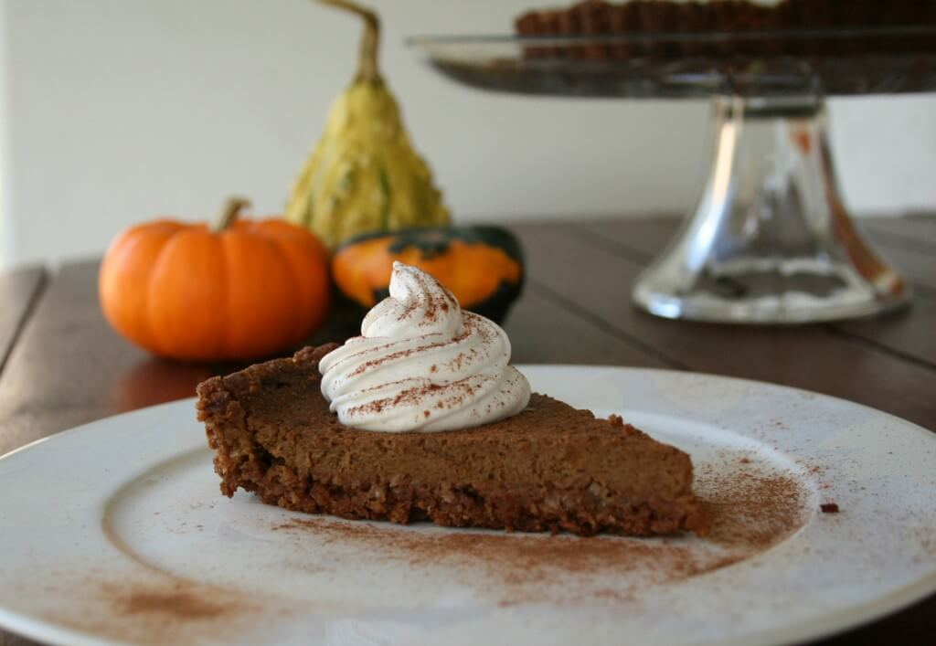 A twist on the classic version of pumpkin pie. This dairy-free pumpkin pie is made with a pecan-coconut crust and fresh, pureed pumpkin.