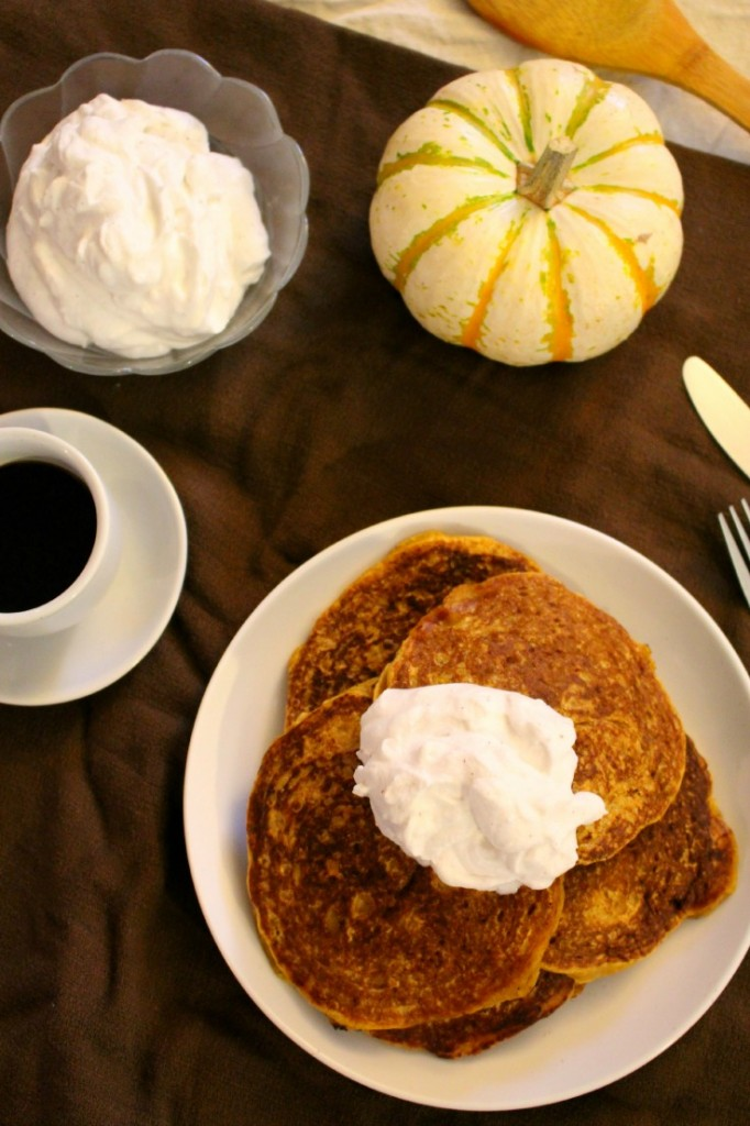 Get the family together and enjoy these fall-inspired pumpkin pancakes on a cool autumn day. Don't forget to add the nutmeg spiced whipped coconut cream!