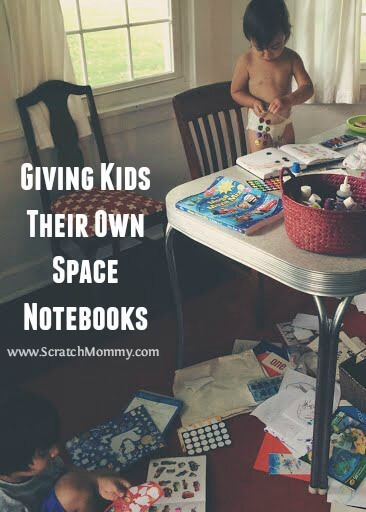 My husband and I started to lose track of what artwork should be saved or sent to the recycle bin, so we decided to give our kids their own space notebooks.
