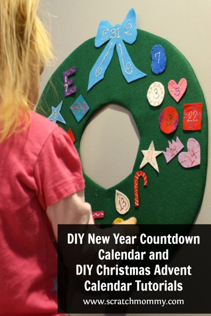 Scratch Mommy wants to help you countdown to the holidays with DIY New Year Countdown Calendar and a DIY Christmas Advent Calendar tutorials.