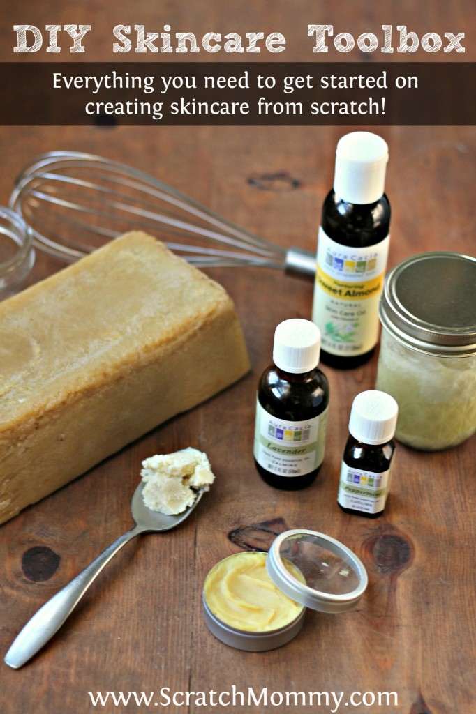 Scratch Mommy shares ingredients that you need in your DIY Skincare Toolbox to start making healthy, organic, homemade skincare products.
