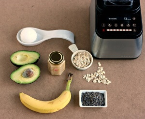This Easy DIY Blender Face Mask leaves you with radiant moisturized skin. Contains Avocado, avocado seed, honey, oatmeal, banana and lavender.