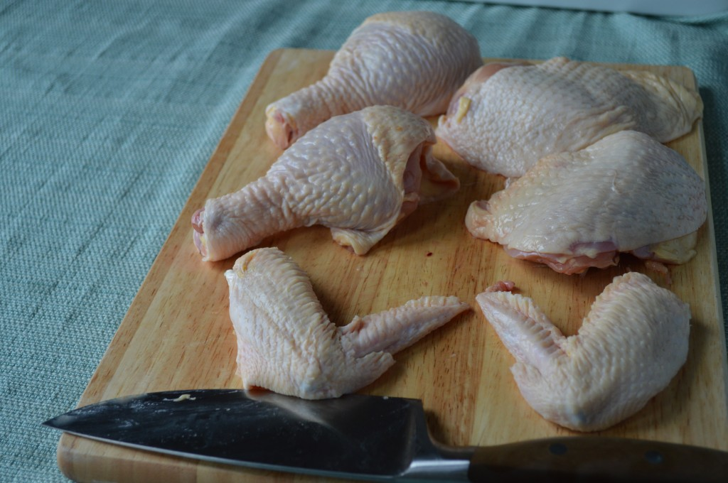 It's so much more economical to break down one bird versus buying chicken pieces. Learn how to break down a whole chicken into pieces here.