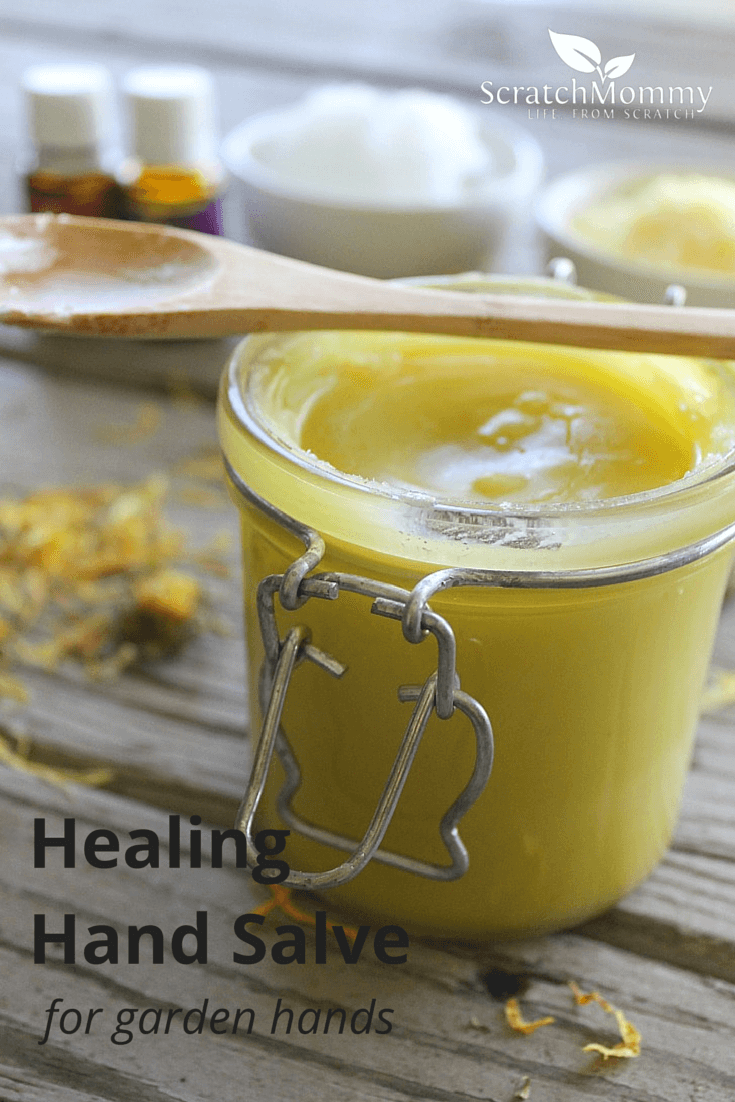 DIY Healing Hand Salve for Garden Hands. Don't put chemicals on your hands - heal them with natural ingredients.