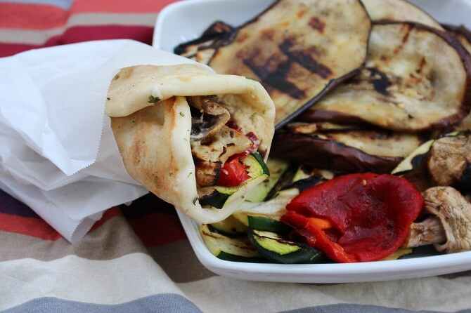 Grilled Eggplant and Hummus Wrap Recipe {Vegetarian}