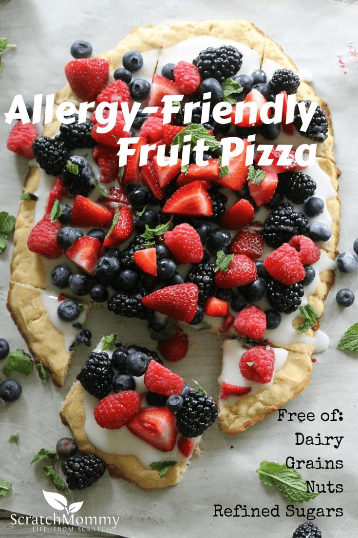 Allergy-Friendly Fruit Pizza Recipe {Dairy-Free, Grain-Free, Nut Free, No Refined Sugar}