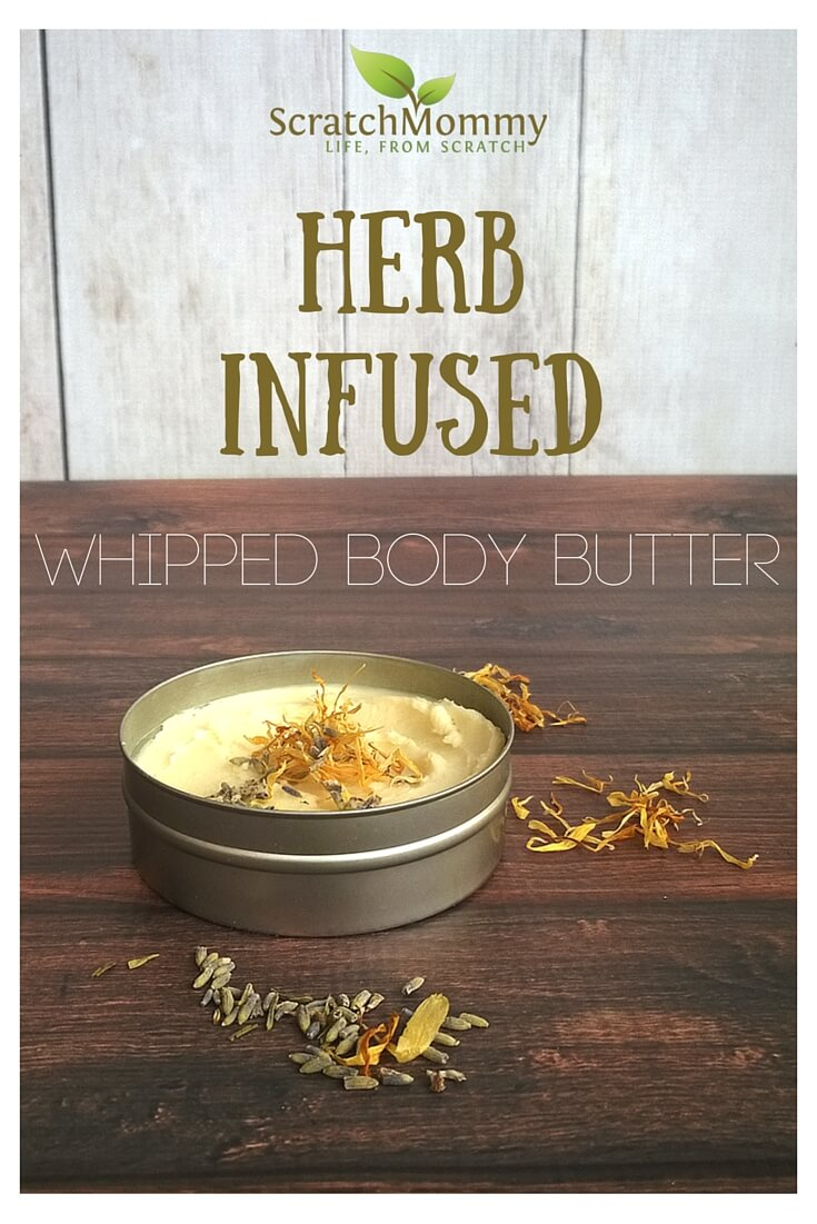 Looking for an easy, yet luxurious DIY body butter recipe that truly soothes? This is IT! DIY Herb Infused Whipped Body Butter - Recipe on Scratch Mommy