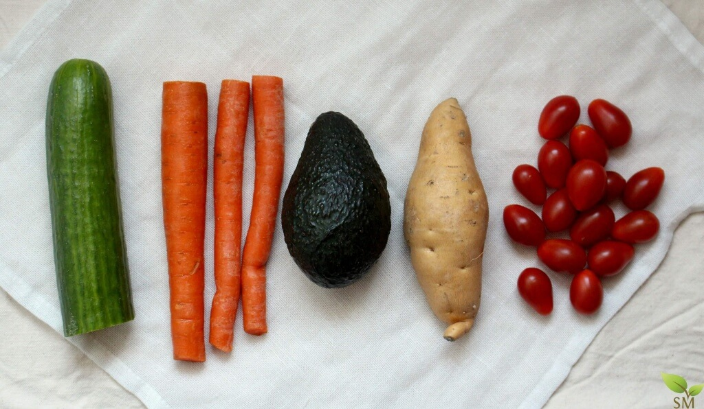 Vegetarian Power Bowl - Get a huge dose of vitamins with these lovely veggies in this delicious power bowl- Scratch Mommy