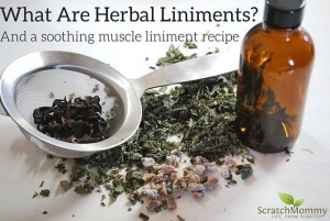 What Are Herbal Liniments? Come learn and grab our DIY recipe for an herbal liniment for sore muscles!- Scratch Mommy