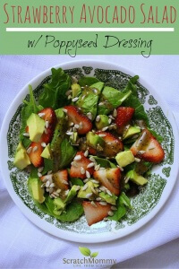 Strawberry Avocado Salad with Poppyseed Dressing. This one will be a hit at home and at gatherings...for any and all palates (vegetarian or not).- Scratch Mommy