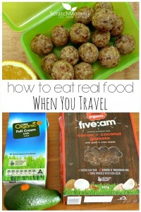 Come grab our favorite tips for how to eat real food when you travel!- Scratch Mommy